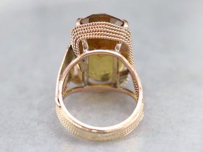 Rose Gold and Honey Quartz Cocktail Ring