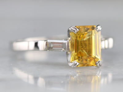 Yellow Sapphire Diamond Engagement Ring