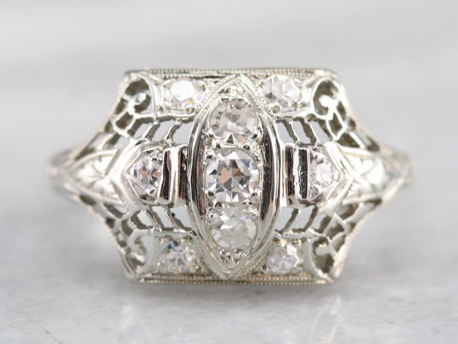 Art Deco Diamond Filigree Dinner Ring