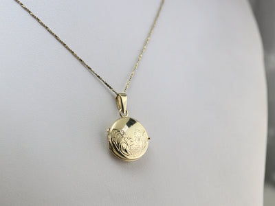 Round Vintage Gold Locket