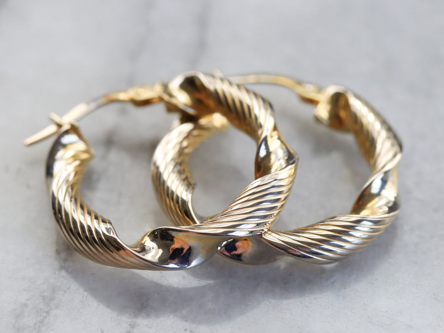 Twisted Gold Ribbon Hoop Earrings