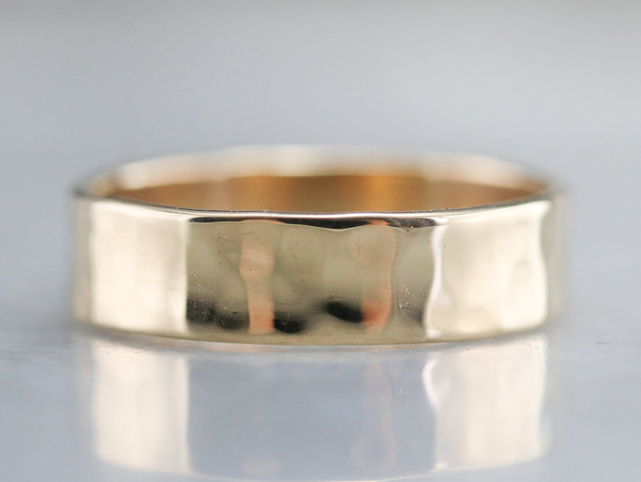 Hammered Finish Gold Band