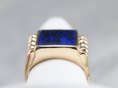 Retro Era Gold and Lapis Statement Ring