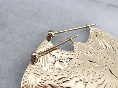 Large Etched Gold Disc Earrings