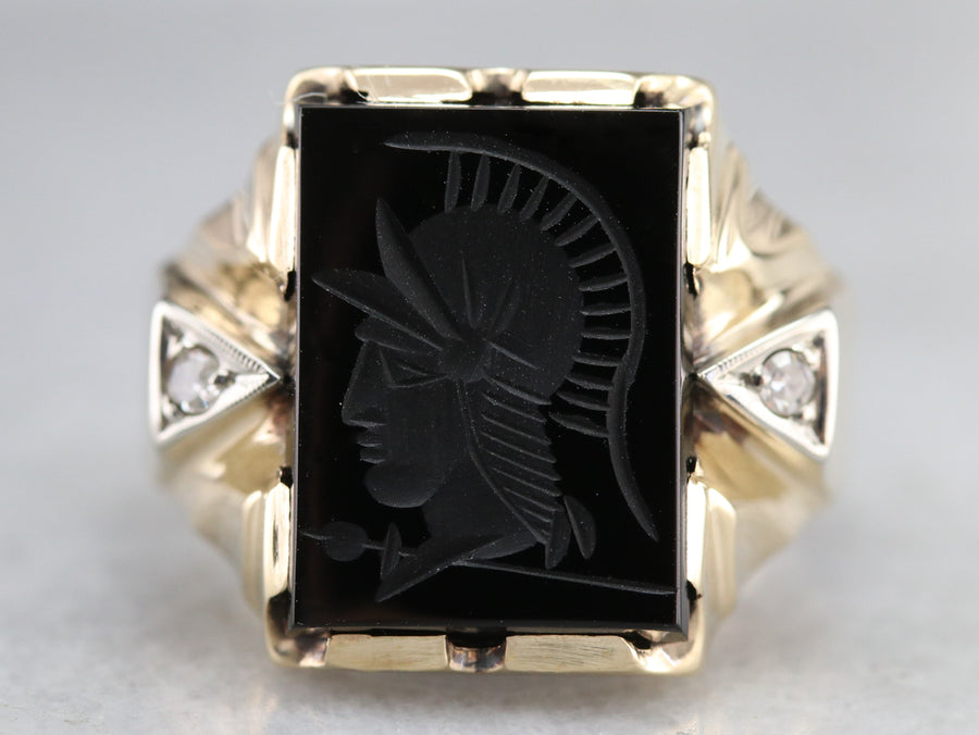 Retro Black Onyx Intaglio and Diamond Ring