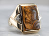 Men's Tiger's Eye Cameo and Diamond Ring