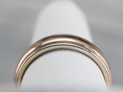 Unisex White and Rose Gold Band