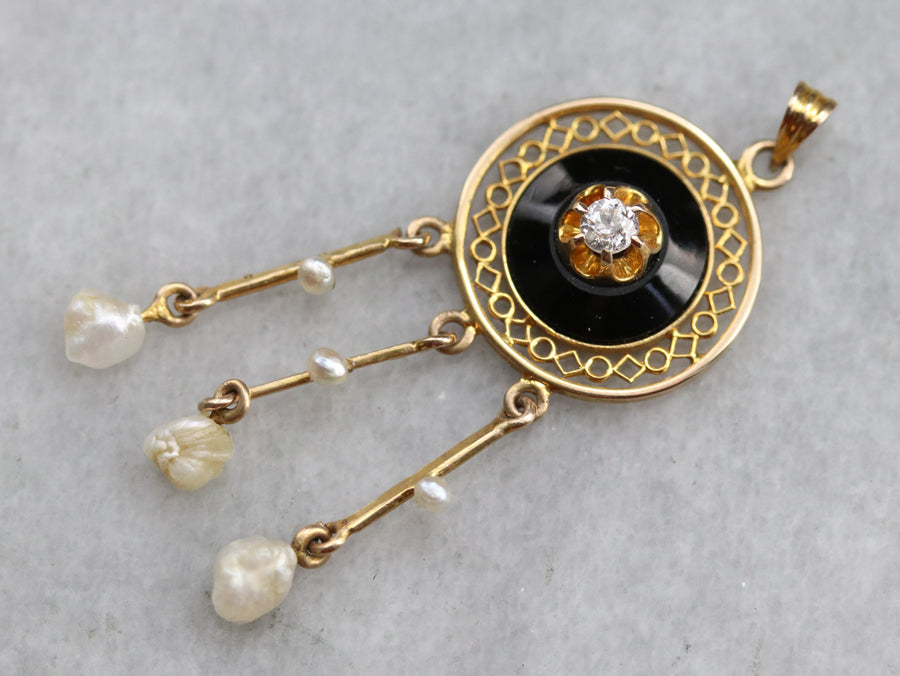 Victorian Diamond Onyx and Pearl Pendant