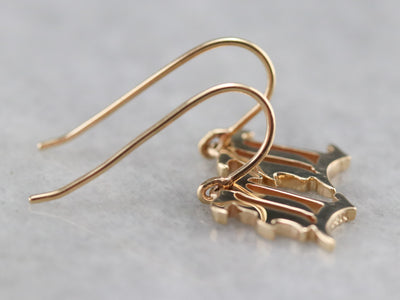 "Gold Old English Letter ""L"" Drop Earrings"