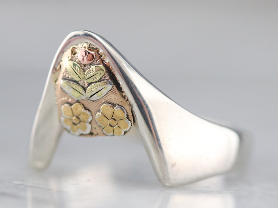 Mixed Metal Floral Modernist Ring