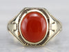 Vintage Carnelian Detailed Gold Ring
