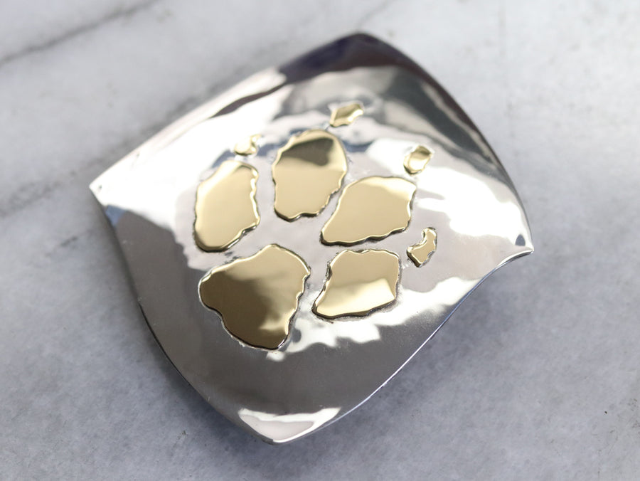 Gold and Silver Paw Print Brooch
