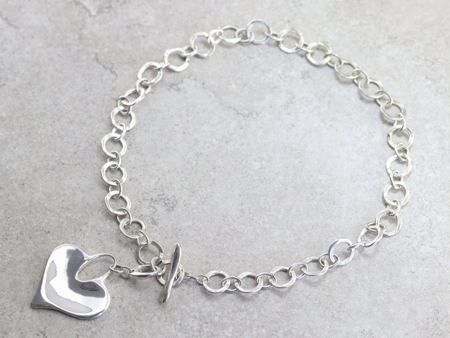Chunky Silver Chain Heart Necklace