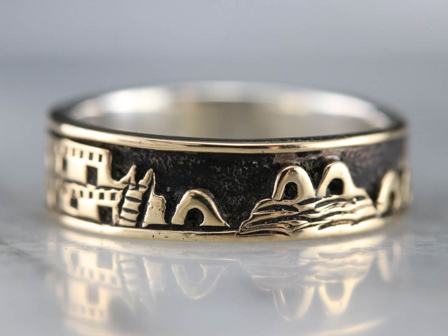 Gold and Silver Landscape Band