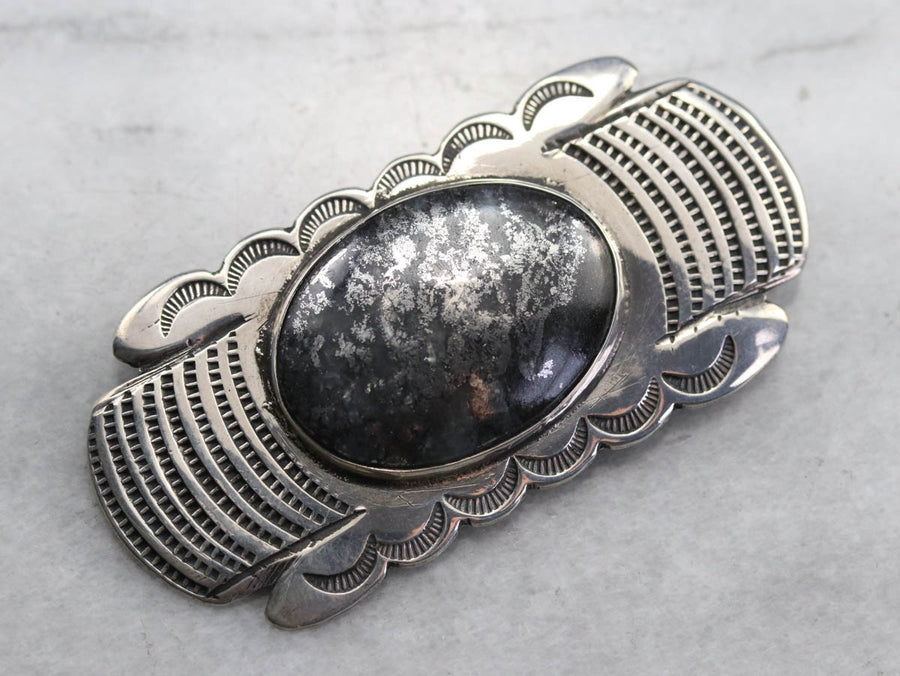 Southwestern Style Pyrite Agate Brooch