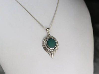 Deco Green Onyx and Marcasite Pendant