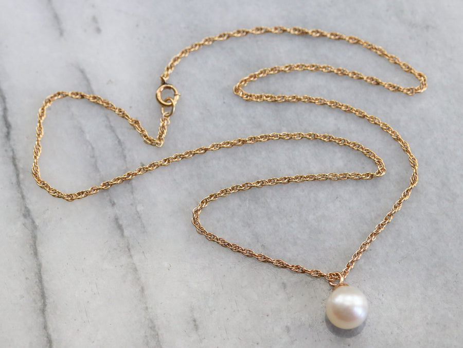 Yellow Gold Pearl Drop Necklace