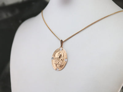 Gold Madonna and Child Pendant