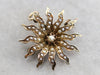 Victorian Seed Pearl Starburst Pin or Pendant