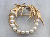 Mid Century Pearl and Diamond Gold Brooch
