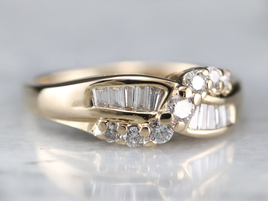 Diamond Twist Gold Wedding Band