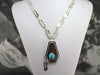 Native American Turquoise Feather Sterling Silver Necklace