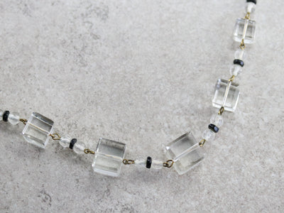 Art Deco Clear Glass Bead Necklace