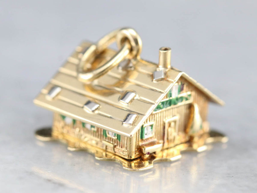 Christmas Cabin Gold Charm