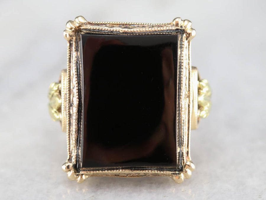 Vintage Black Onyx Cocktail Ring