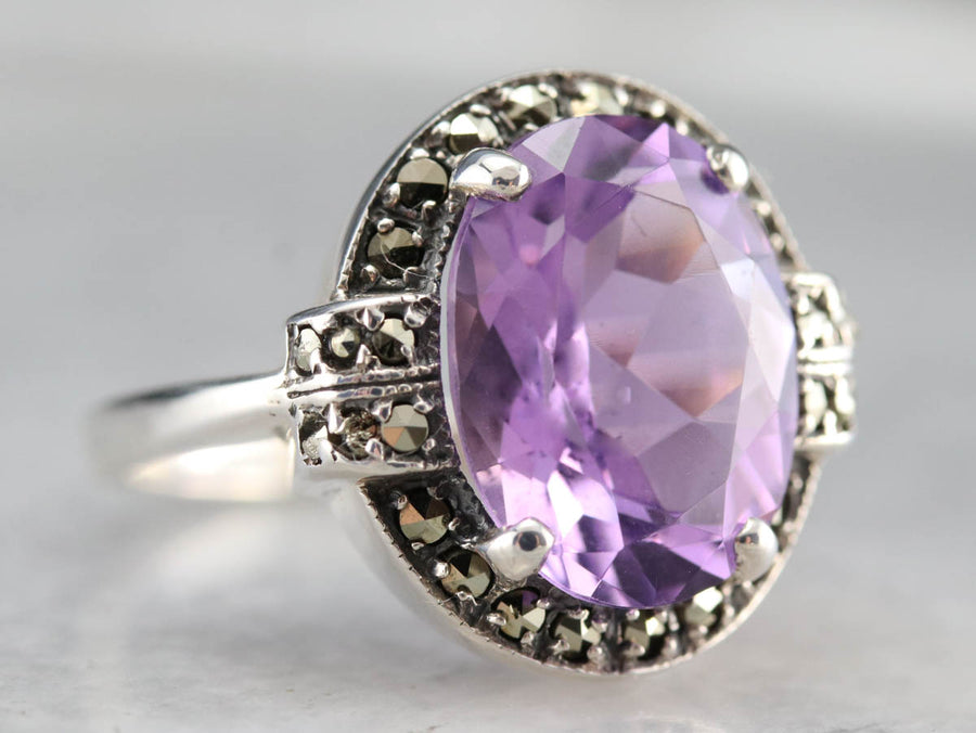 Art Deco Amethyst and Marcasite Ring