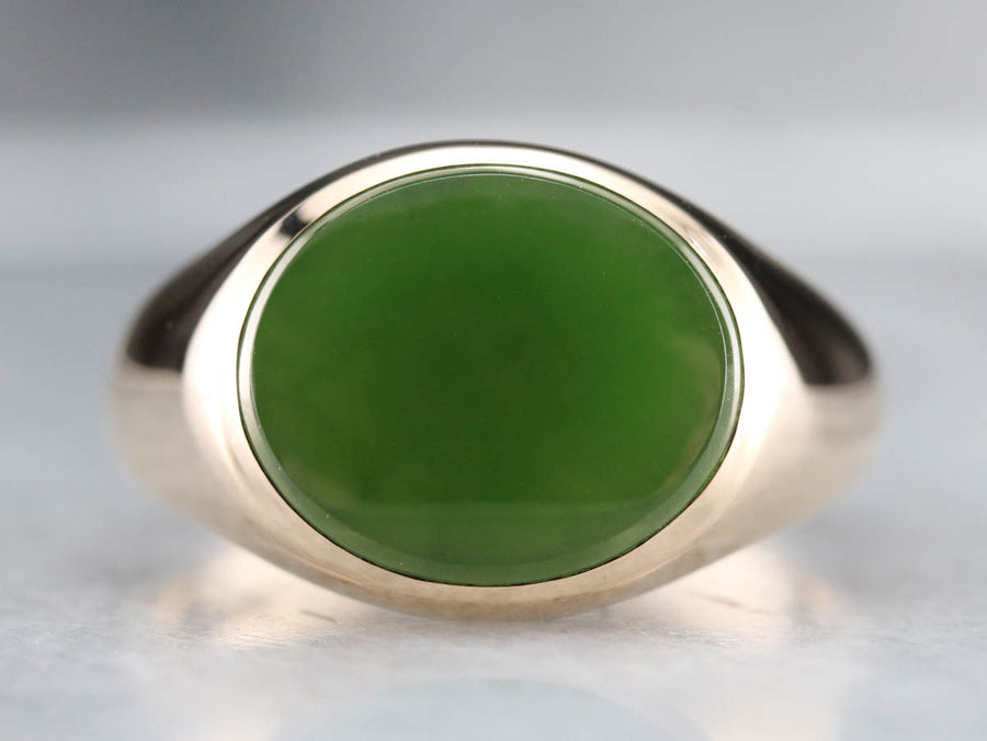 East to West Men's Jade Gold Statement Ring