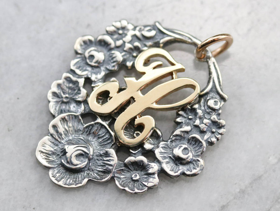 "Floral ""H"" Monogram Mixed Metal Pendant"