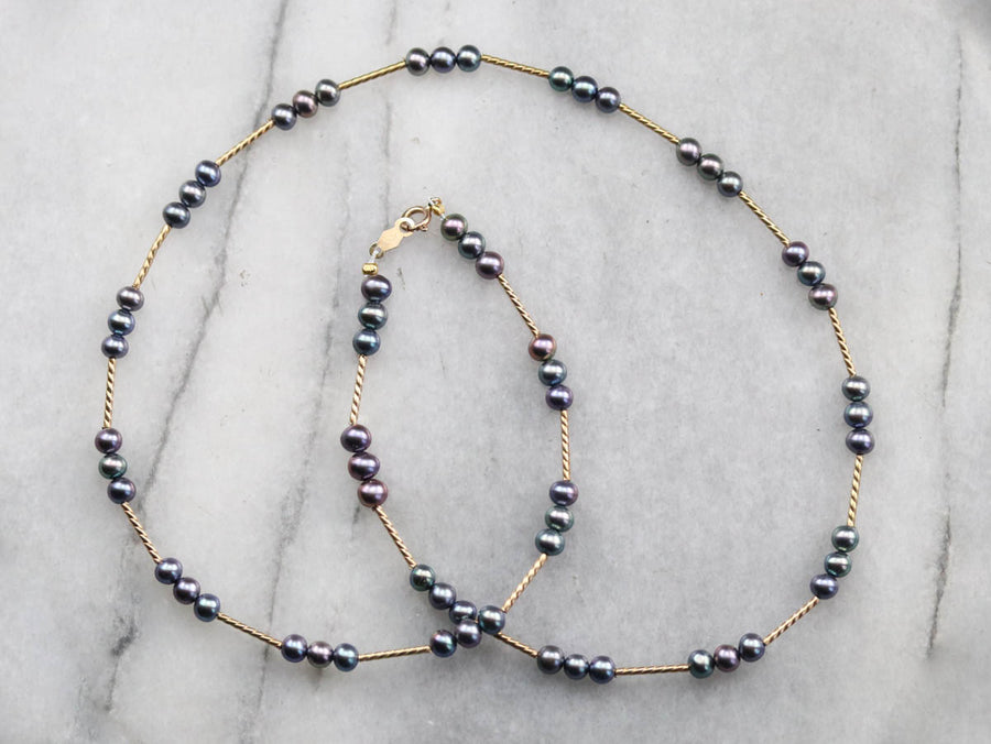 Black Freshwater Pearl Station Necklace
