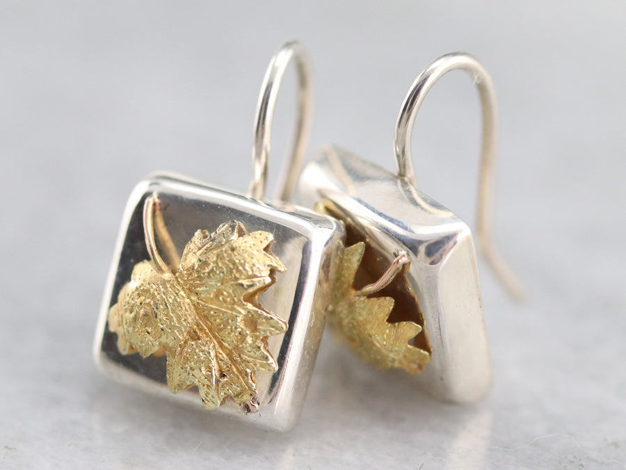 Silver and Gold Leaf Drop Earrings