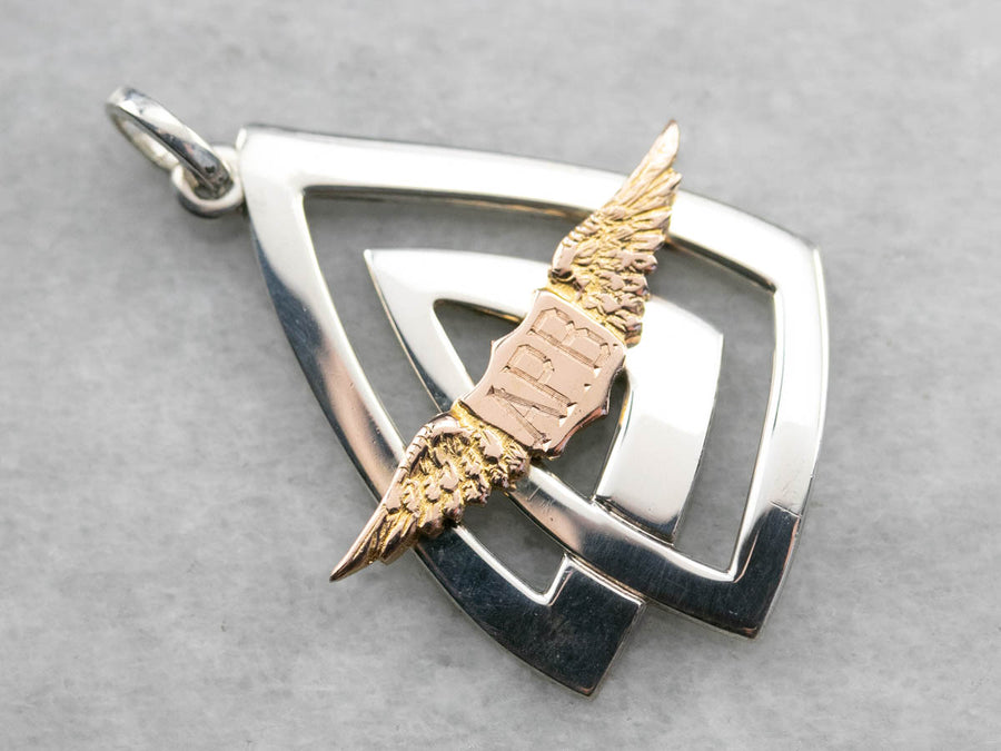 "Mixed Metal ""APB"" Winged Pendant"