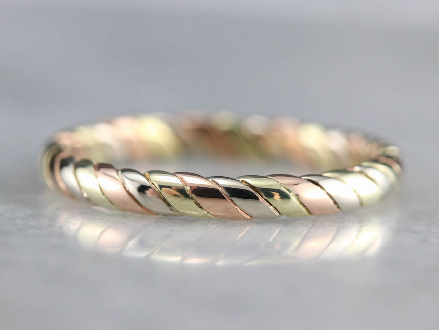 Twist Tri-Color Gold Band