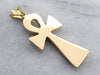 Etched Large Gold Ankh Pendant
