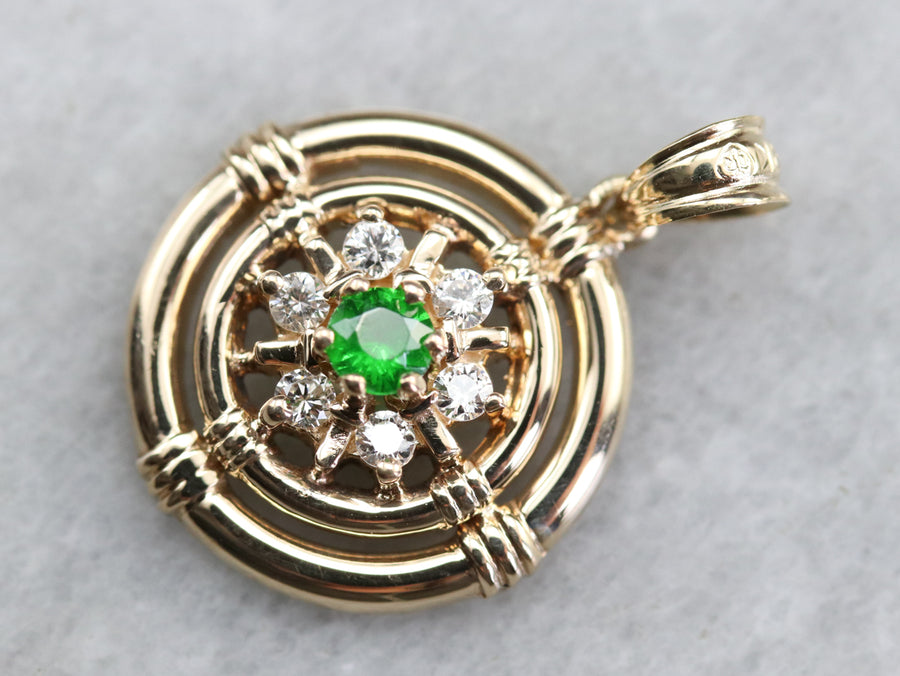 Demantoid Garnet and Diamond Pendant