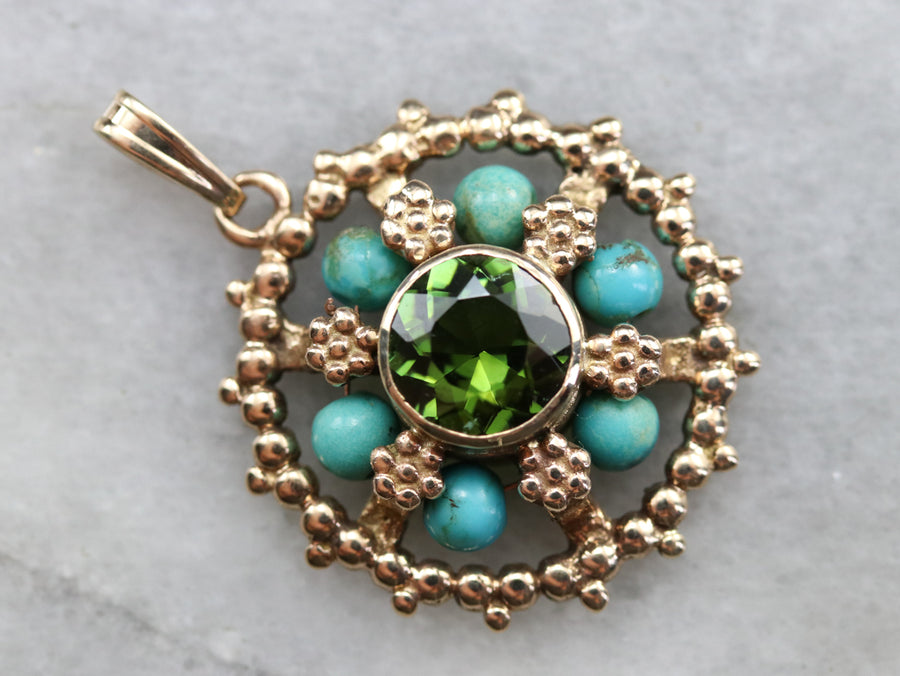 Floral Green Tourmaline and Turquoise Pendant