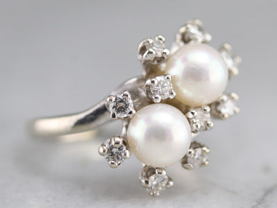 Pearl and Diamond Double Halo Ring