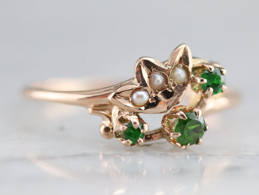 Demantoid Garnet and Seed Pearl Ring