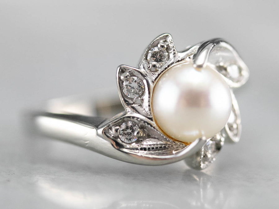 Mid Century Pearl and Diamond Ring
