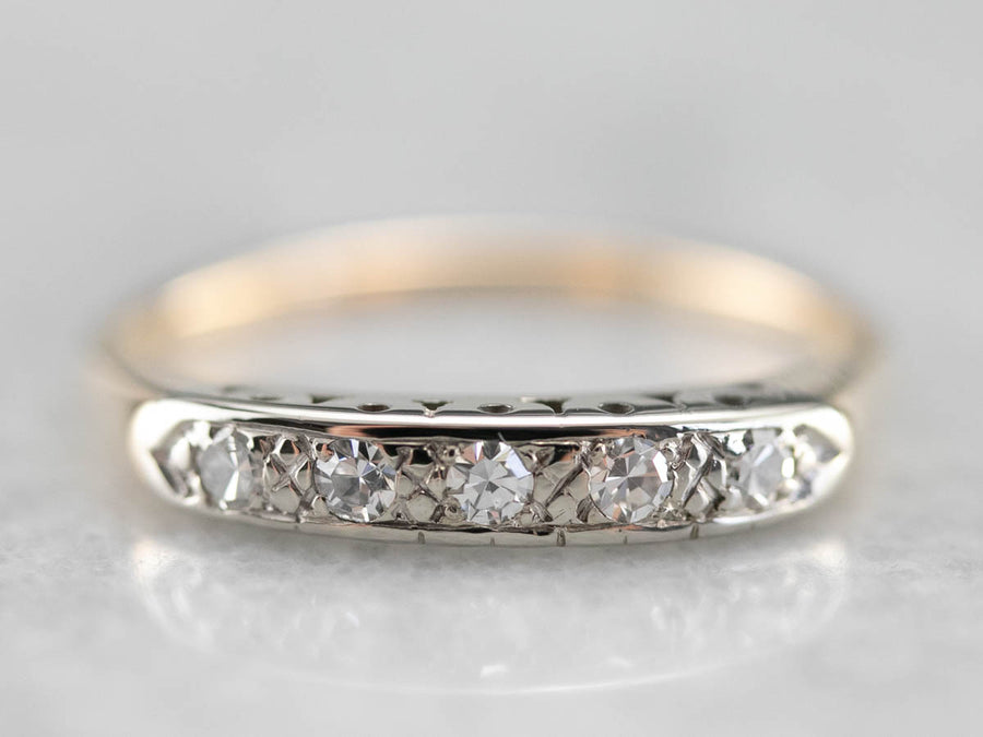 Two Tone Retro Era Diamond Band