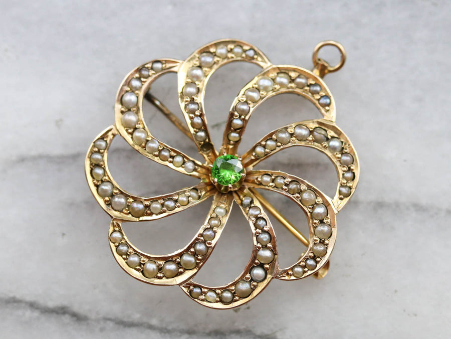 Victorian Demantoid Garnet and Seed Pearl Brooch