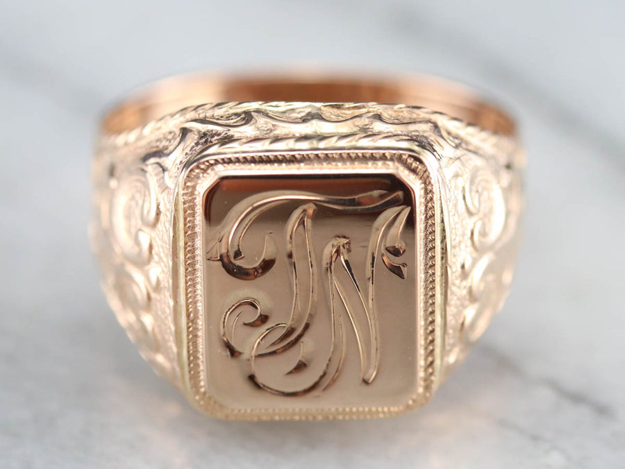 "Antique Rose Gold ""JN"" Monogrammed Signet Ring"