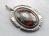 Tribal Style Chrysocolla Sterling Silver Pendant