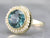 Vintage Blue Zircon and Seed Pearl Halo Ring