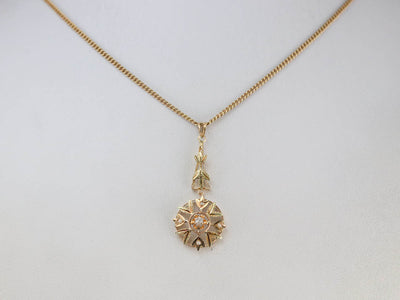Art Nouveau Era Old Mine Cut Diamond Pendant