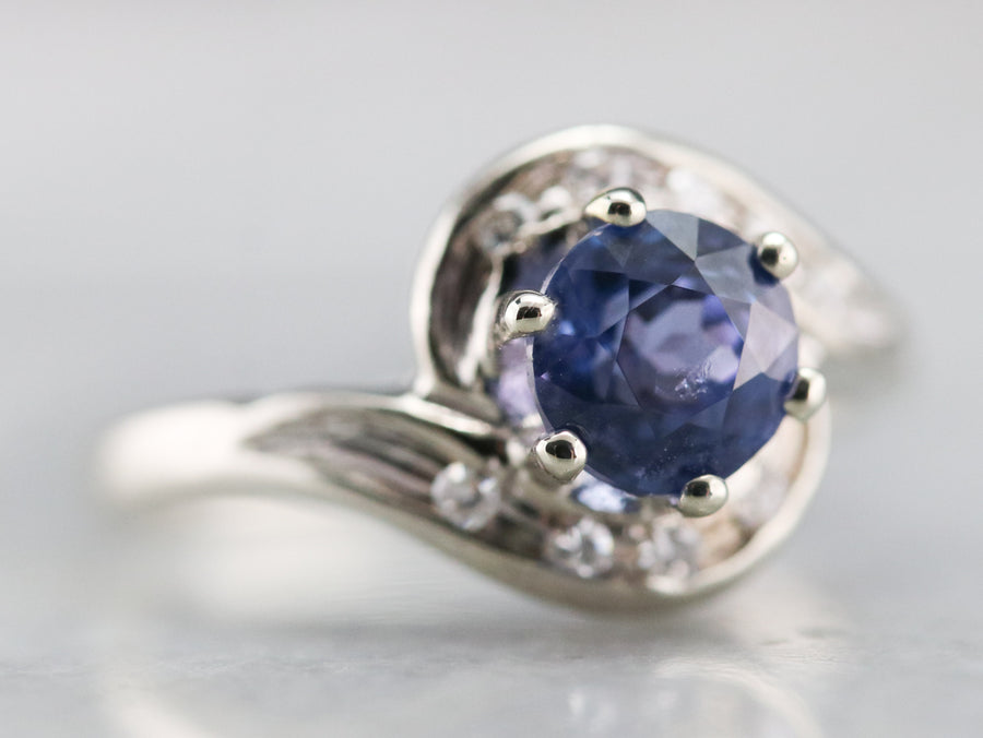 Ceylon Sapphire and Diamond Bypass Ring