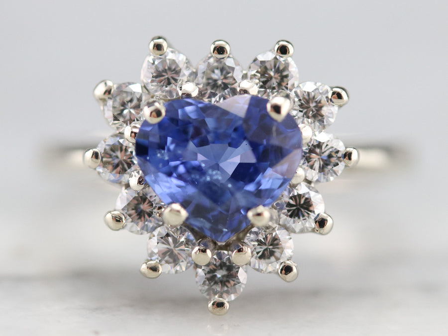 Heart Cut Sapphire and Diamond Ring